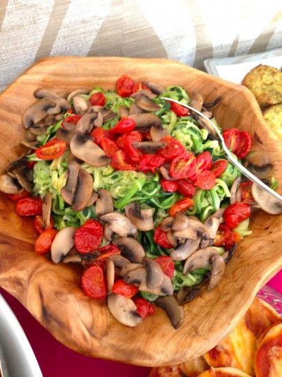 Zuchinni Pasta Salad with Sautéed  Mushrooms and Cherry Tomatoes