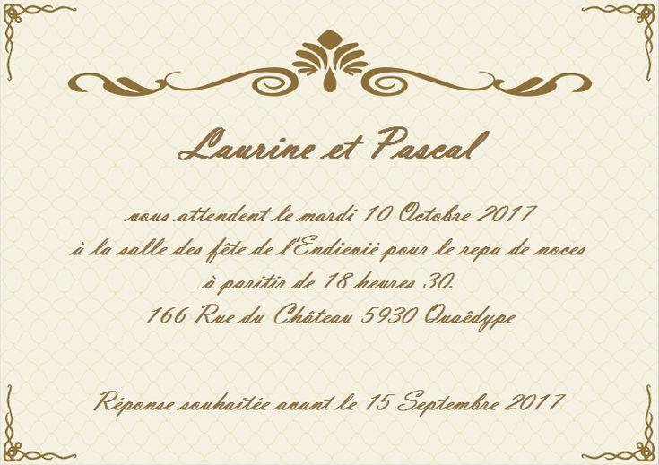 Modèle de carte d'invitation de mariage gratuit personnalisable et imprimable | Carte invitation ...