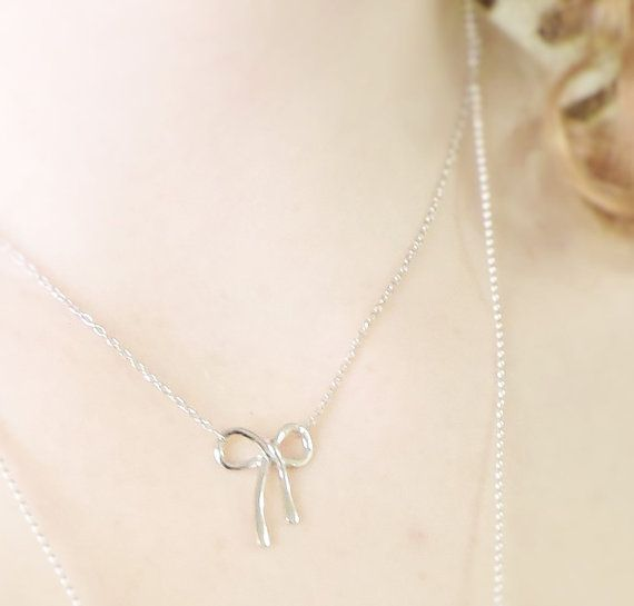 Bow Necklace in Sterling Silver Bow Necklace by Kissingravens