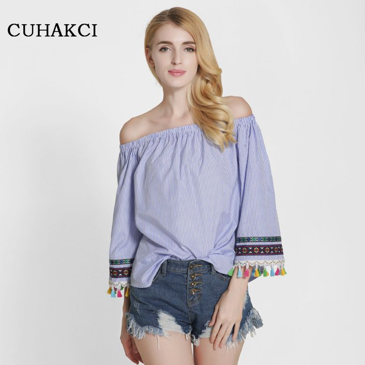 >> Click to Buy << CUHAKCI 2017 New Sexy Off Shoulder Blouses Slash Neck Tassel Stitching Striped Shirts Strapless Embroidery Boho Tops S329 #Affiliate