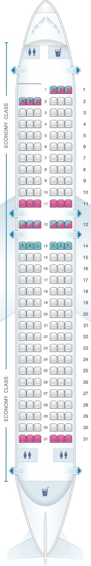 Seat Map Allegiant Air Airbus A320