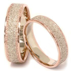BEAUTIFUL His & Hers Brush Finish Two Tone Wedding Bands 14K Whie & Rose Gold: Jewelry: Amazon.com