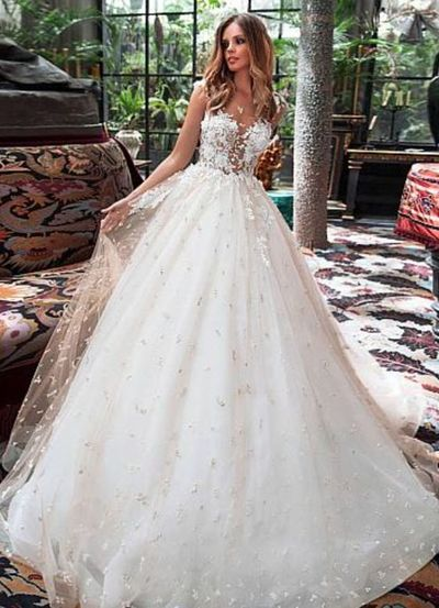 Attractive Tulle Jewel Neckline See-through Bodice A-line Wedding Dress With Lace Appliques & Beadings , W0008 from Dressmelody