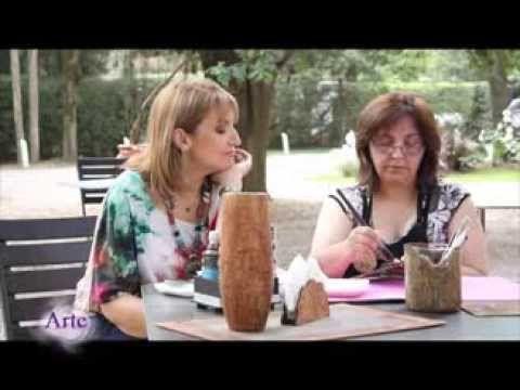 Cómo imitar corteza de árbol con pintura acrilica y cola - YouTube