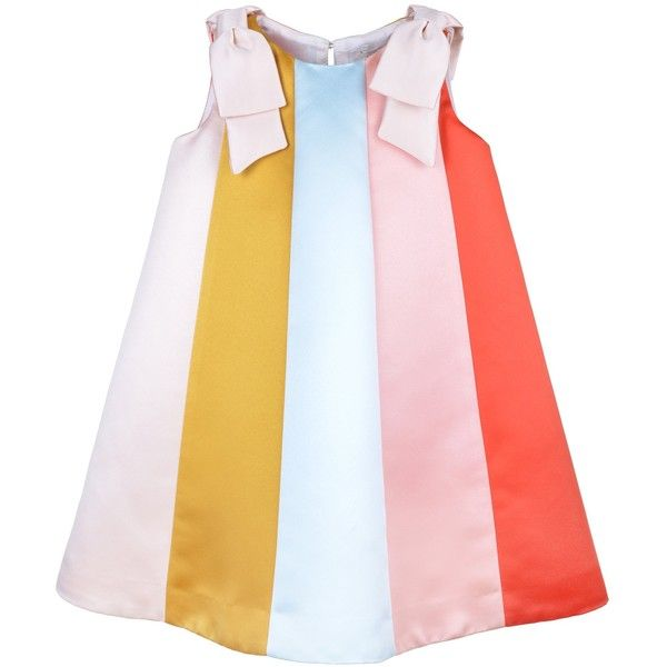 Hucklebones Rainbow Trapeze Dress ($70) ❤ liked on Polyvore featuring dresses, rainbow dresses, tent dress, pink swing dress, pink dress and multi coloured dress