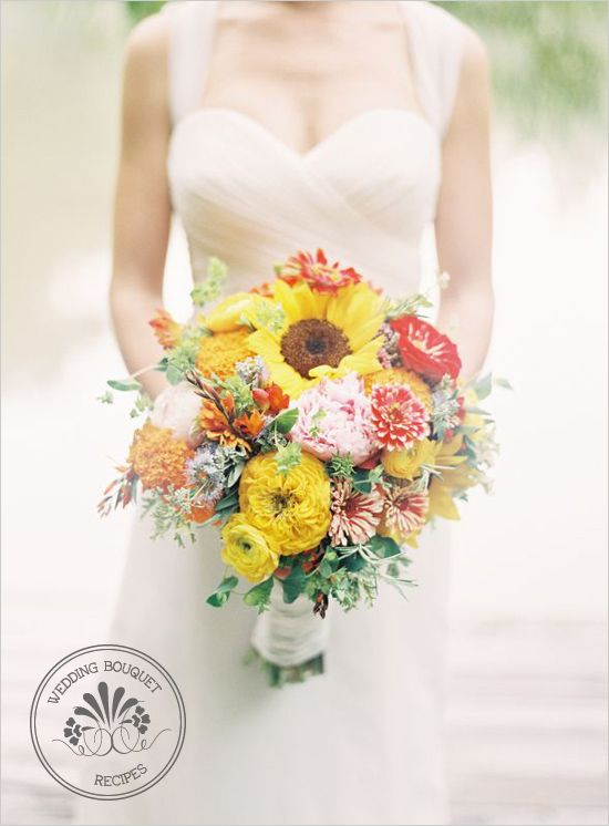 I love the #bride's soft, flowing #wedding dress and the bright pops of color from her #bouquet.