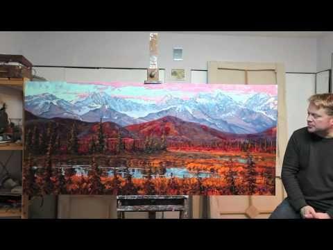 Artist Dominik Modlinski talks about his monumental oil painting based on his painting journeys into far North #home #art #Alaska #painting