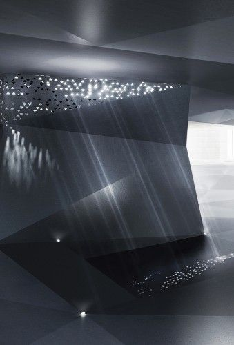 IT Incubators, designed by Symbiosis Designs ltd. is a proposed addition to an existing structure in King Hussein Park in Amman, Jordan. The perforations in the ceiling allow certain amounts of light to stream through, creating a unique effect.