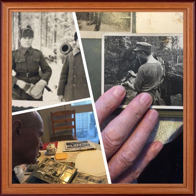Veikko, 96 vuotta, on sotaveteraani. Katseltiin yhdessä kuvia ja Veikko kertoi  uskomattomia tarinoita sodasta.