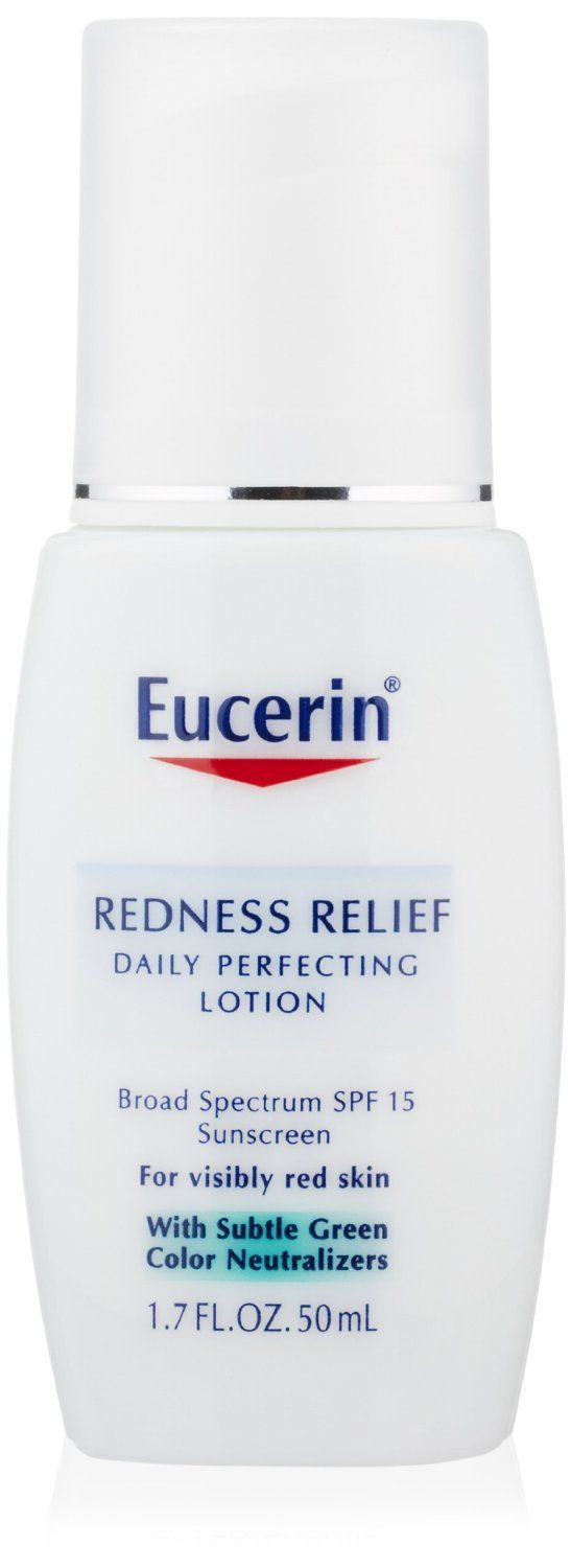Eucerin Redness Relief Daily Perfecting Lotion SPF 15.  Immediately reduces visible redness and blotchiness  Provides a light, all day moisture  Protects from redness provoking UV rays  Natural Licotone, a soothing extract of licorice root helps calm the skin  Sheer and light green color neutralizes the skin