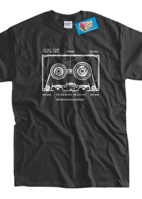 Cassette Tape Funny Music Shirt Cassette Diagram by IceCreamTees, $14.99