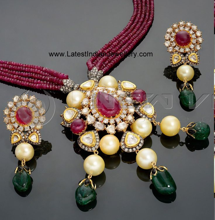Ruby Beads Necklace with Kundan Polki Pendant Set