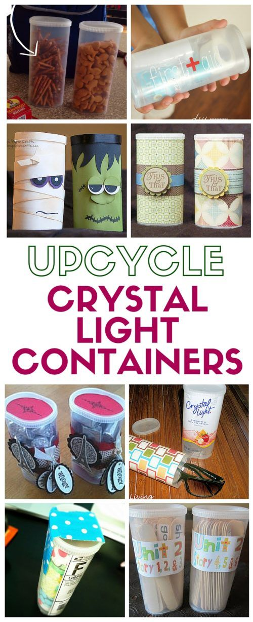 Upcycle those empty Crystal Light container and use them for storage solutions and all sorts of fun projects and craft ideas!