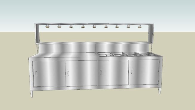 Large preview of 3D Model of Steam Table and Prep Station