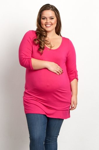 Fuchsia Basic 3/4 Sleeve Plus Maternity Tunic
