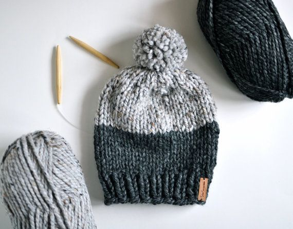 Chunky Knit Beanie With Pom Pom // Hand Knitted by StarSeventeen