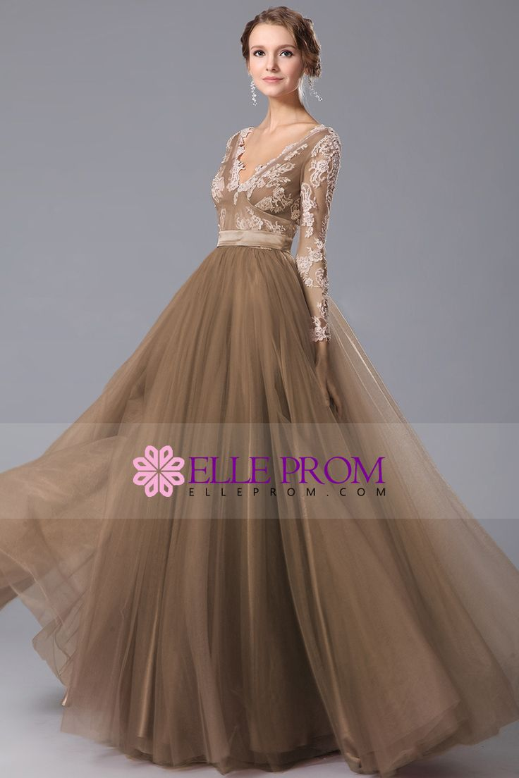 2015 Full Sleeves V-Neck A-Line Prom Gown Tulle With Sash And Applique