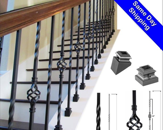 Iron Balusters Iron Spindles Satin Black Hollow Core Etsy In   Iron Balusters For Sale   Double Basket   Rustic   Square   Indoor   Cast Iron