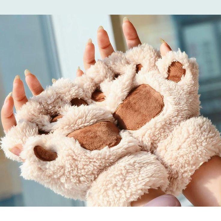 1 Paar Plüsch Katzenpfoten Handschuhe
