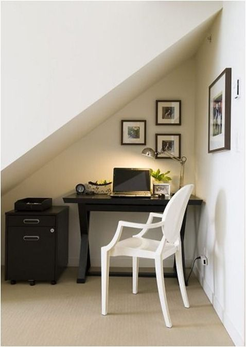 Any underused part of your home like that extra space under a staircase can become a home office.