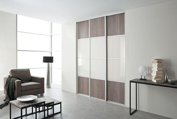 kazed portes de placard coulissantes karacter 3 ch ne havane et verre laqu blanc pur. Black Bedroom Furniture Sets. Home Design Ideas