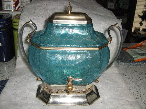Blue Cracked Glass Water Dispenser 'Keystone Silver by JudysBootie