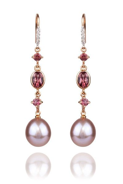 "3/4"" long 14k rose gold dangle shepard hook earrings featuring 9 - 10mm pink fresh water Pearls, Pink Tourmaline & .07ctw Diamonds."