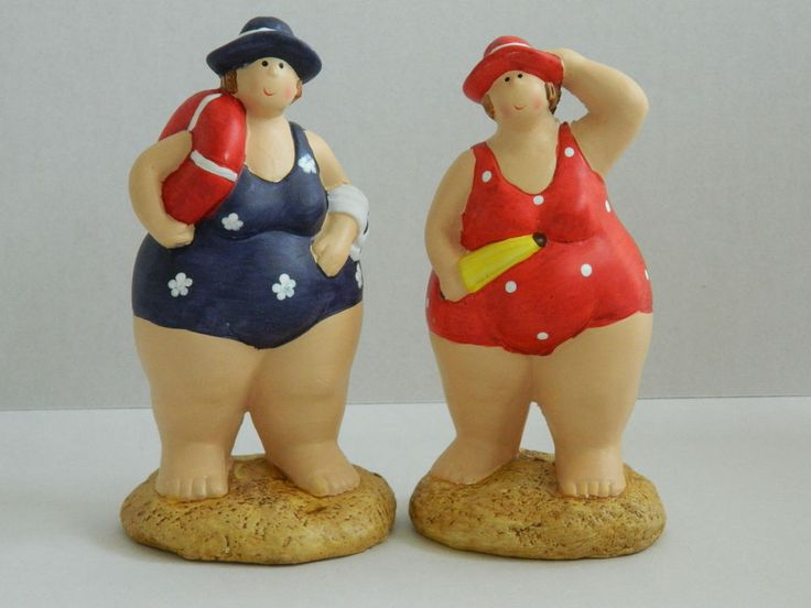 SEASIDE FAT LADIES IN COSTUMES BATHROOM ORNAMENT NAUTICAL SEASIDE BEACH
