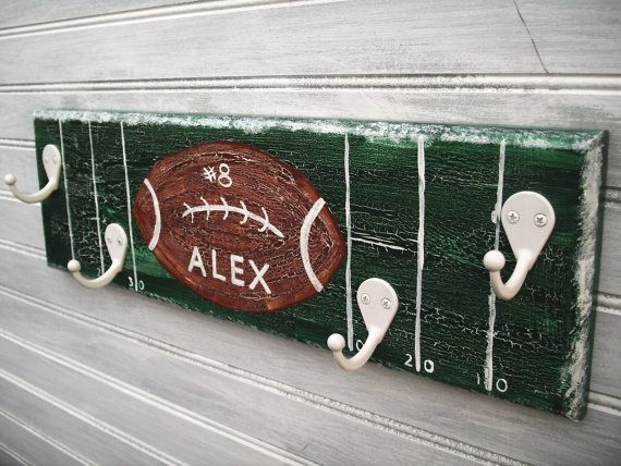 Football Player Rack Hanger Boys Sports Room Decor Wall 4 Hook  Personalized Name Team School Color Sports Room Decor Handpainted