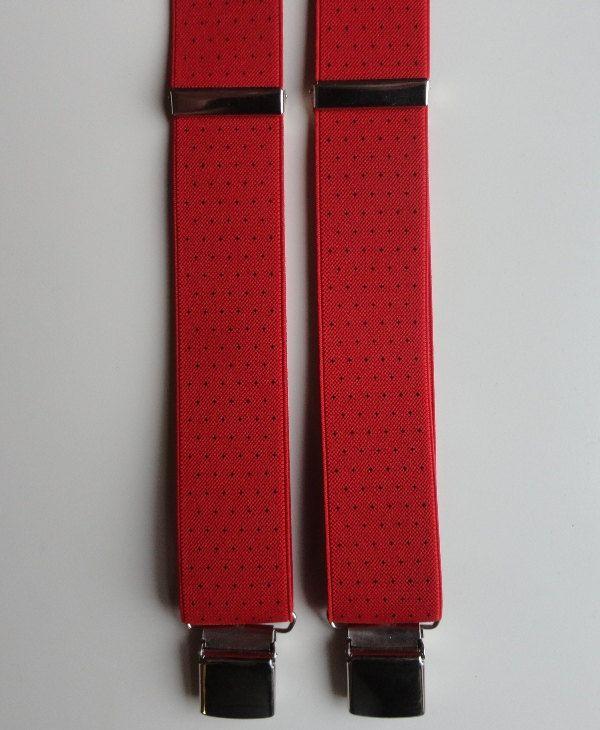 BRETELLA ROSSO e mini pois neri. particolari in vera pelle, larghezza elastico cm 3,5 modello a Y (due clips davanti e una dietro) di SuspendersTime su Etsy