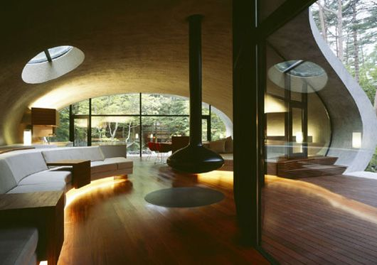 This is a remarkable house built in the woods of Karuizawa, Japan and designed by Kotaro Ide.Architects, Shells, Japan, Living Room, House Interiors, Interiors Design, Architecture, Modern House, Into The Wood