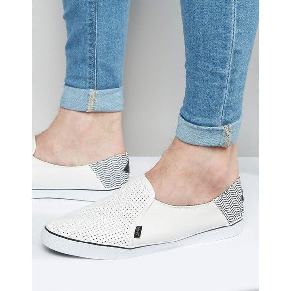 Rock & Religion Slip On Plimsolls ($33) ❤ liked on Polyvore featuring men's fashion, men's shoes, men's sneakers, white, mens canvas sneakers, mens white slip on sneakers, mens canvas slip on sneakers, mens slip on shoes and mens slip on sneakers