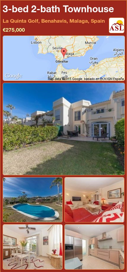 3-bed 2-bath Townhouse in La Quinta Golf, Benahavis, Malaga, Spain ►€275,000 #PropertyForSaleInSpain