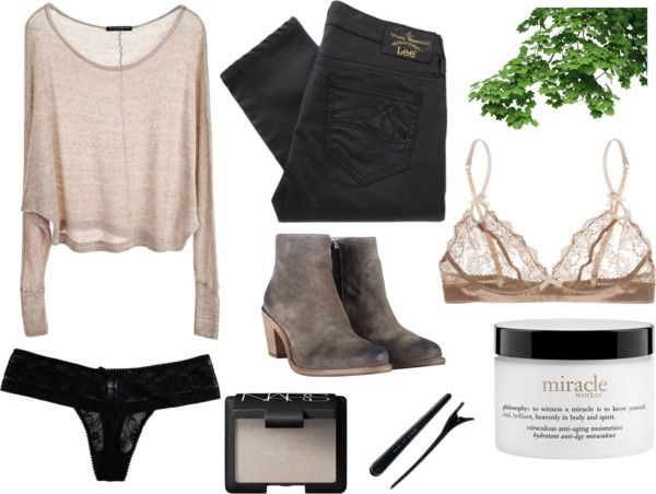 Soft by fashioncontagion featuring philosophy  Brandy Melville knit top / Vivienne Westwood Anglomania black skinny jeans, $170 / Elle Macpherson Intimates / Cosabella / AllSaints leather boots / NARS Cosmetics / philosophy / Beauty product