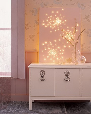Instead of hanging on walls, get a canvas and puncture holes in it. But white Christmas lights in back to make this and then just lean it on your desk or your dresser. This will also take up bland wall space.