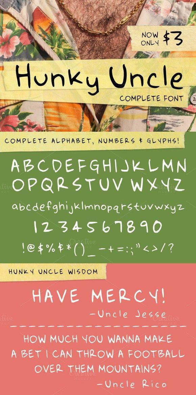 Hunky Uncle Handwritten Script Font. Script Fonts. $3.00