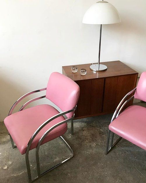 Just in! 1970s pink leather and chrome Milo Baughman chairs 💕💕💕. Set of 2 chairs $600 (2 pairs available). Mid century chrome and glass Italian mushroom lamp $325. Danish teak mid century media console $600 〰〰〰 #pink #pinkchair #chrome #love #teak #steel #recordstorage #mediaconsole #diningchairs #love #style #need #milobaughman #danish #midcentury #midcenturydecor #midcenturylamp #1960s #1970s