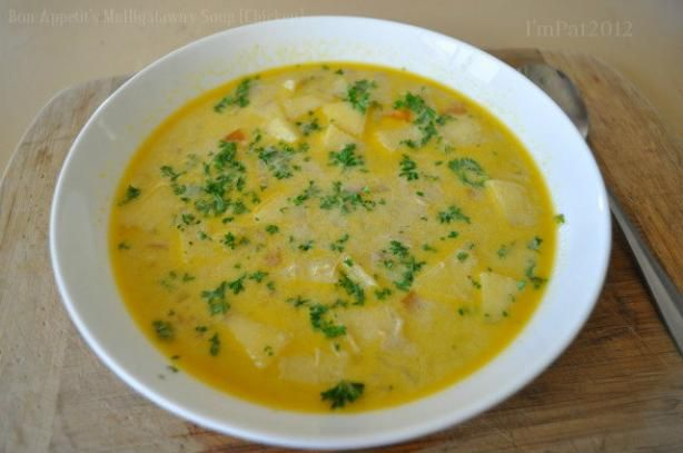 "Bon Appetit s Mulligatawny Soup ( Chicken ) from Food.com:   								This Classic Anglo-Indian soup, the name of which means ""pepper water,"" should be richly endowed with meat and piquantly spiced. Taste the soup as it cooks, adding lemon juice, cayenne pepper and curry powder as necessary."