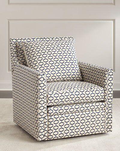 Kadi Swivel Recliner Chair, White/Blue