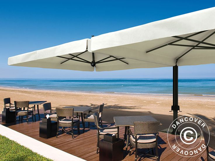 CANTILEVER PARASOL ALU DOUBLE WITH VALANCE, 3X6 M, ECRU Large top of the line cantilever parasol in an exquisite handmade Italian quality with 2 parasols on the same pole. The beautiful and exclusive parasol is in a popular and modern square design. The frame is made of steel and aluminium that will maintain the beautiful finish for many years without any maintenance.