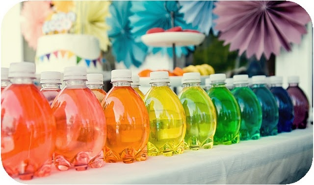 Rainbow water bottles- would be great for a windowsill or the light table!