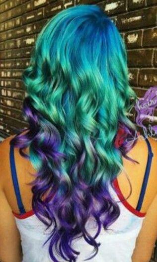 Green purple dyed hair @changecosmetics