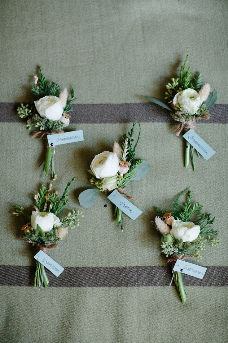 Rustic modern boutonnieres, ranunculus and evergreens. Fleurie | Flower Studio.