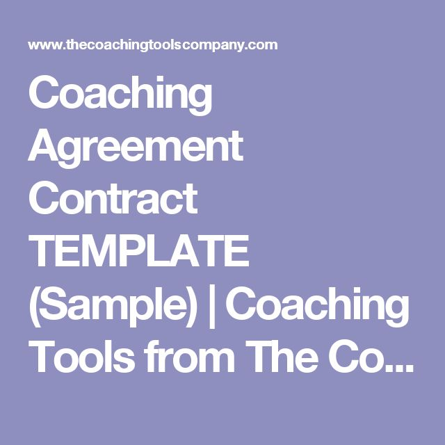 Coaching Agreement Contract TEMPLATE (Sample) | Coaching Tools from The Coaching Tools Company.com