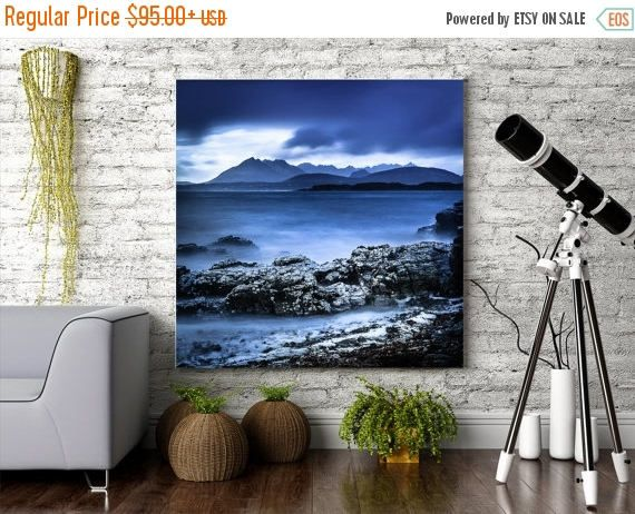 Extra large blue Limited Edition print of the Cuillin Ridge, the breathtaking mountain ridge on the Isle of Skye in the remote far north of Scotland.     TITLE:      Cuillin Ridge     This is an original, fine art giclee print from a limited edition print run, only a very few will ever be sold around the world. Artist signed and available on paper or canvas.    I believe in giving my clients beautiful artwork on luxury papers that hold their colours for a lifetime!      For these special…