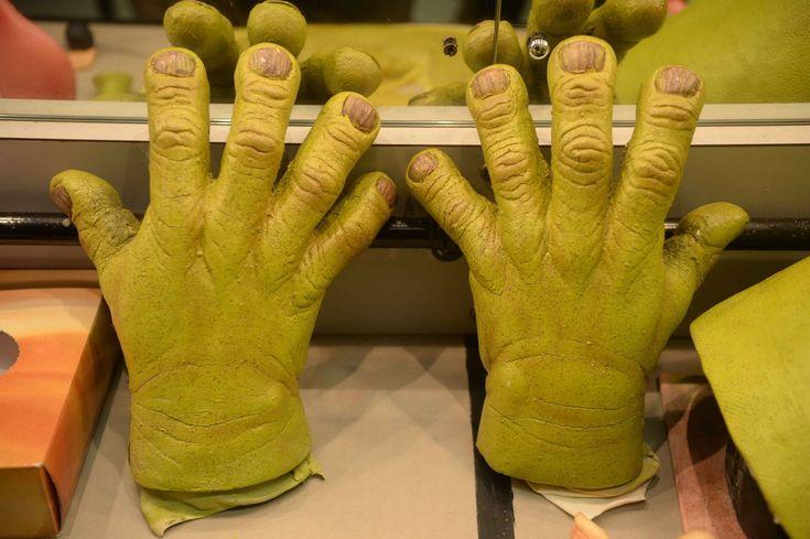 Shrek's prosthetic ogre hands, behind the scenes of Shrek The Musical, at the Birmingham Hippodrome.