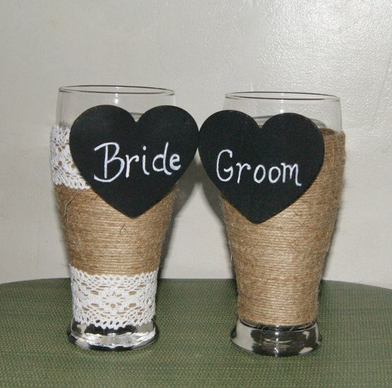 Bride and Groom Champagne Glasses / Rustic by CarolesWeddingWhimsy, This set of Rustic Wedding Decoration Toasting Beer Glasses, Country Wedding Decoration Bride and Groom Chalkboard Heart Beer Glasses are perfect for your Rustic Wedding, Country Wedding, Farmhouse Wedding or Woodland Wedding.  You can find them here https://www.etsy.com/listing/233108655/bride-and-groom-champagne-glasses-rustic