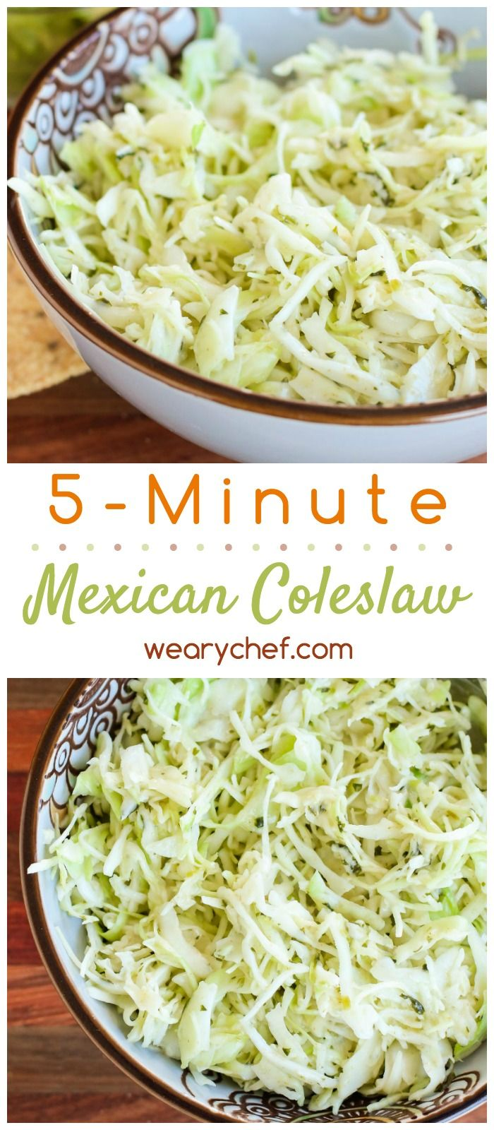 This easy Mexican coleslaw is a 5-minute side dish recipe perfect for dinner!