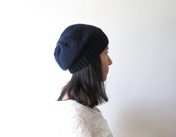 Navy Blue Slouchy Hat Women Knit Hat Mens Slouchy Beanie