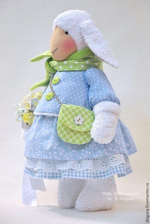 Купить Овечка - Весеннее облако - голубой, нежно-голубой, светло-голубой, овечка, игрушка овечка